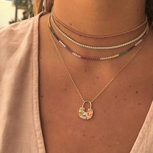 2 millimetri collana girocollo di tennis cz per le donne 3 colori bianco rosso verde eleganza di modo delle donne a più strati alla moda splendidi gioielli di design europeo