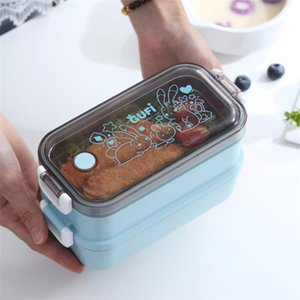 700ml Stainless steel bento box double layer lunch box salad bento box portable seal tableware kids student