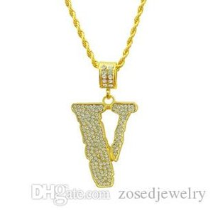 New Men's Full CZ Iced Out Bling Charm V Letter Pendant Necklace Hip Hop Bling Necklace Dropshipping