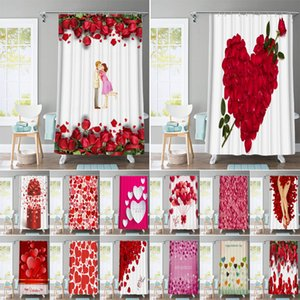 Rose Petal Printed Fabric Bathroom Shower Curtain Large 180x200cm Waterproof Pink Love Bath Curtains Valentine's Day Decoration