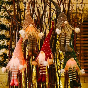 LED de luz sin rostro de la muñeca Feliz Navidad Colgando sin rostro muñecas de Navidad Colgando pierna larga sin rostro que brilla colgante