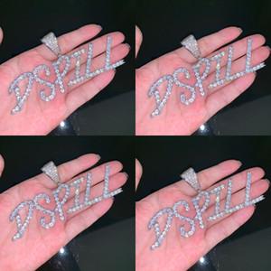 Горячие продажи Пользовательское Имя Теннис Буквы Кулон мужское Ожерелье Ice Out CZ Камень Рок-стрит Хип-Хоп Ювелирные Изделия с 24 дюймов веревкой цепи