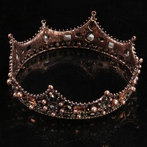 Bronze Crown Studio Photo Studio Wedding Headdress - البرونز نمط جديد الملكة تاج الأميرة العروس اكسسوارات الزفاف غطاء الرأس C19022201