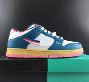 Parra x SB Dunk Low Skateboard Zapatos Blanco Verde para hombre peludo Mujeres Familia Limited Diseñador ocasionales de los deportes zapatillas de deporte Tamaño 5,5-11