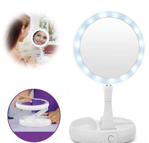 My Fold Away LED Makeup Mirror Double-sided Rotation Folding USB Lighted Vanity Mirror Touch Screen Tabletop Lamp Adjustable Cosmetic Mirror