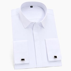 France Cufflinks men business tuxedo Shirts Square collar long sleeve Covered Button Plain solid social formal shirt