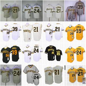Günstige Pittsburgh Throwback Piraten 21 Roberto Clemente 39 Dave Parker 24 Barry Bonds Mitchell und Ness coopers Jersey 011