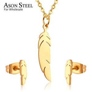 ASONSTEEL Sistemas de la joyería del color del oro del acero inoxidable 316L para las mujeres 2019 collar de la hoja colgante pequeños pendientes del perno prisionero para Femme