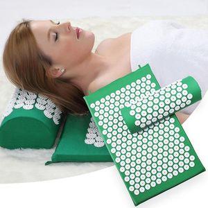 Massager Almofada Massagem Yoga Mat Acupressure aliviar o estresse Dor nas costas Corpo de Spike Mat Acupuntura Massagem Yoga Mat com Pillow