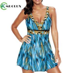 Muolux 2019 Yeni Kadın Retro Baskı Artı Boyutu Tek Parça Karın Kontrol Mayo Elbise Kadınlar Bathingsuit Mayo Etek Büyük Boy 5xl Y19072601