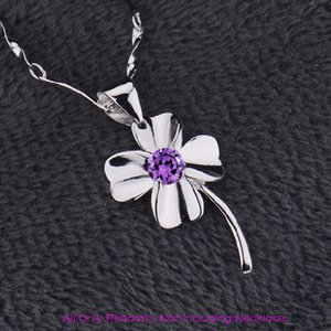 Europe Retro White Purple Crystal Pendants For Women Four Leaved Lucky Clover Charm Silver Plated Flowers Charm Design