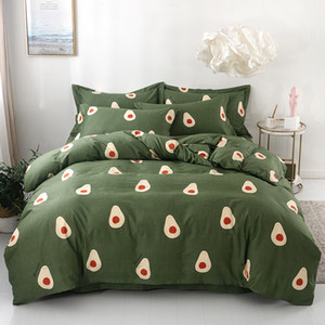 3 / 4pcs / Set Avokado Desen% 100 Pamuk Yorgan Yatak Seti Nevresim Nevresim Seti Yeşil Hayır Dolgu Ev Tekstil T200409