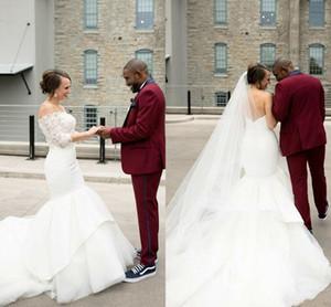 Luxury White Mermaid Wedding Dresses Sweep Train Lace Half Sleeve Wedding Bridal Gowns robes de mariée Modern Garden Wedding Guest Dress