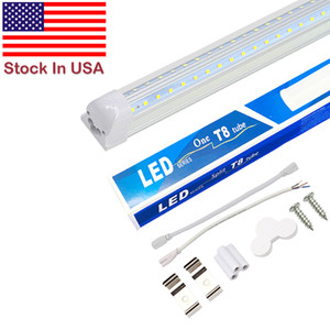 V-Shaped 2ft 3ft 4ft 5ft 6ft 8ft Cooler Door Led Tubes T8 Integrated Led Tubes Double Sides Led Lights fixture Stock In USA