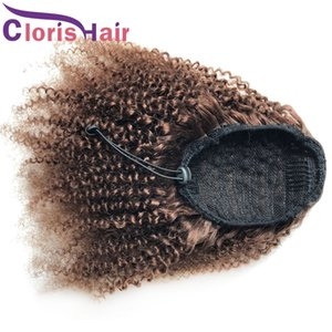 Dark Brown Pony Tails Brazilian Remy Afro Kinky Curly Drawstring Human Hair Ponytail Extensions With Clip Ins For Black Women #4 Ponytail