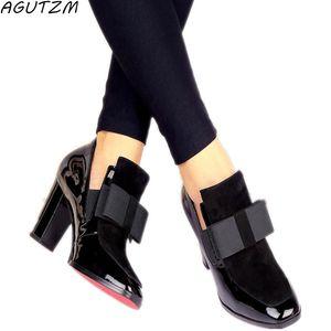 AGUTZM New 100% Real Photo saltos altos bombas dedo do pé quadrado genuínos sapatos de couro das senhoras das mulheres preto sexy chaussure femme 34-44