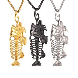 Declaração colar peixe osso esqueleto de aço inoxidável colar de pingente de colar de corrente