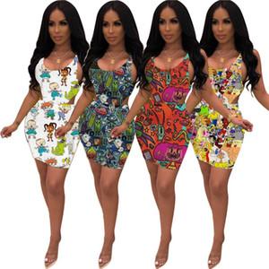 womens tasarımcı elbise 2 parça elbise kolsuz gömlek + mini etek seksi elbise moda karikatür rahat etek kadın giyim klw3781 baskılı