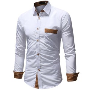 Mens manches longues Slim Fit Pocket Top chemises habillées Formal Designer Chemises Regular Fit manteaux Tops