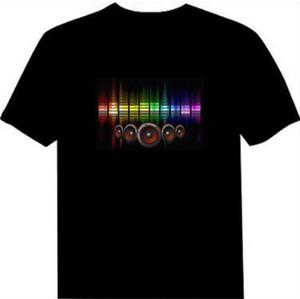 Venda quente som ativado led t-shirt para homens, mulheres, crianças piscando el light up personalizado fabricado está disponível