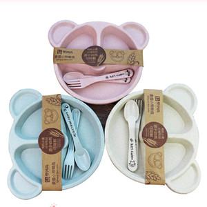 3шт / Set Детские чаши + ложка + вилка для кормления Питание Посуда мультфильм Медведь Детская посуда питание Посуда Anti-горячий Обучение Ужин Тарелка