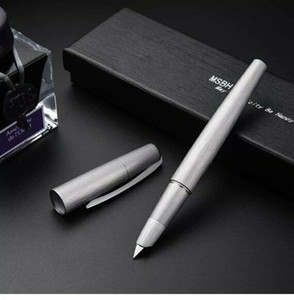MSBH2000-1 Pluma Fuente Fine NIB Converter Pen Silver Brusehd Aluminio