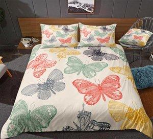 Borboleta edredon cobrir Set colorida cama Set borboleta Bedclothes Rapazes Raparigas Home Textile Insect Cama microfibra Lençois