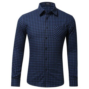 Men Shirt Fashion Tops Blouses Mens Casual Long Sleeved Shirt Single Pocket Little Plaid Shirt Mens Clothing Spring 2019