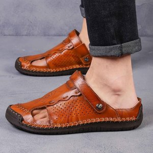 Merkmak 2020 New Summer Beach Shoes Fashion Breathable Casual Shoes Genuine Cow Leather Men Sandals Big Size Male Flats Slippers