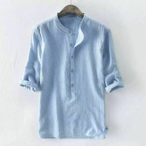 2019 Marke Baumwollhemden Herren gestreiften 3/4 Ärmel Shirt Sommer Cool Lose Casual Button Shirts Tops Größe M L XL 2XL 3XL