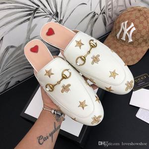 Mode Weibliche Faulenzer Qualitätsstickerei Freizeit-Schuhe klassische Trensen Schnalle Baotou Halbschuhe für Metall Frauen Schnalle fauler Schuhe