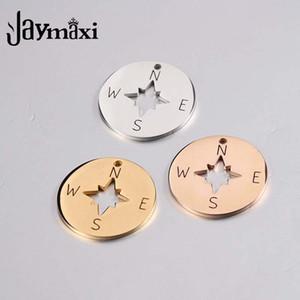 Jaymaxi Compass disco encantos de aço inoxidável polido Espelho DIY colar de jóias Fazendo encantos da cor do ouro 20pieces / lot