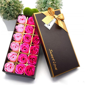 Presente do dia Artificial Rose Gift Box Valentines Floral Perfumado Sabão de banho Rose Flower presente pétalas Box Aniversários aniversário de casamento XD23054