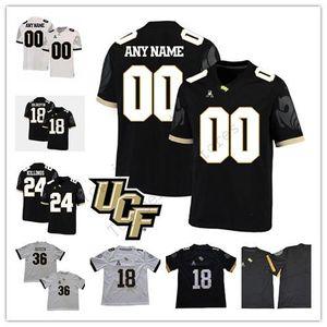 Özel UCF Knights Kolej Futbolu Herhangi İsim Numara Siyah Beyaz 5. Dredrick Snelson 12 Taj McGowan 26 Otis Anderson 88 Akins dikiş forması