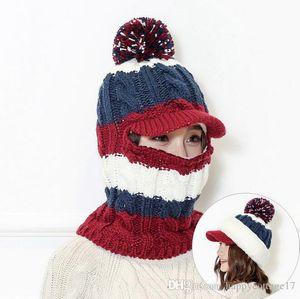 chapeau de laine pull-over tricoté hiver femme plus de velours vent au nord-est de masque cycliste et une écharpe froide protection auditive chapeau intégré