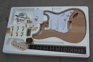 Factory Custom Natural Wood Electric Guitar Kit(Parts) with Alder Body,Gold Hardwares,DIY Semi-finished Guitar,Offer Customized