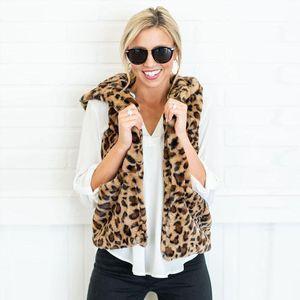 Womens Autumn Winter Fashion Waistcoat Leopard Faux Fur Vest Gilet Jackets Coats Outwear Cardigan Female Outwear