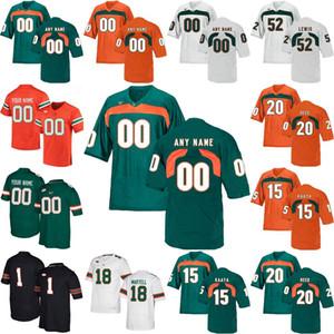 NCAA Miami Hurricanes Formalar Brad Kaaya Jersey Ed Reed Ray Lewis Sean Taylor Andre Johnson Koleji Futbol Formalar Özel Dikişli