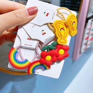 2pcs / set Cute Girls fasce elastiche dei capelli del fumetto fiori arcobaleno bambino Scrunchie Ponytail Scrunchie lunetta Accessori per capelli