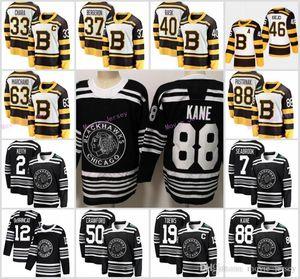 Classique d'hiver 2019 Chicago Blackhawks Bruins de Boston Toews DeBrincat Patrick Kane maillot de hockey Seabrook Crawford Pastrnak Bergeron Marchand