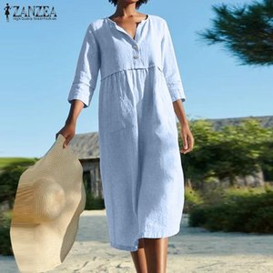 2020 Summer Solid Shirt Dress ZANZEA Casual 3 4 Sleeve Work Sundress Women Vintage O Neck Cotton Linen Midi Vestidos Female Robe