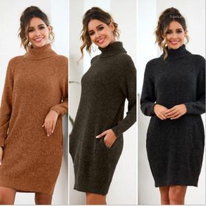 Thick Wool Dress tasca di modo femminile casuale abbigliamento allentato solido Color Designer vestiti delle donne Alta Collor