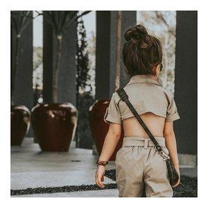 2019 summer new children's clothing girls handsome British style solid color short-sleeved halter jumpsuit