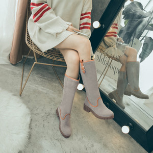 Hot Sale-, winter, Europe, America, fashion, simple, casual, sweet, clasp, coloured round head, set of foot, half boots. XW17-210603