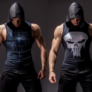 3D stampa di bodybuilding tank top traversa uomini fitness elasticità giubbotto uomini muscolari senza maniche con cappuccio gilet