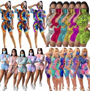 Women Face Mask Pullover T Shirt Crop Top Shorts Tracksuit Summer 3 Piece Clothing Sets Leopard Outfits Tie-dye Gradient Sports Suit D6 Kfbq