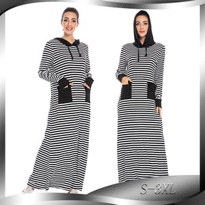Mode féminine à manches longues rayé Sweat-shirts S-3XL Plus Size Muslim Women Dress Casual turque Djellaba africaine