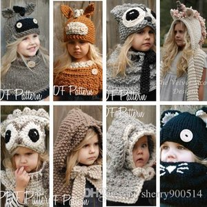 2-9 Years Kids Winter Rabbit Owl Donkey Unicorn Knitted Hat With Neck Warmer Baby Girls Boys Children Hooded Beanie Hats photography props