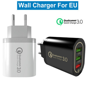 3 puertos USB QC3.0 recorrido del hogar rápida carga del cargador del enchufe de la UE estadounidense de alimentación de CA pared del adaptador de enchufe del cargador para el iPhone Samsung Tablet iPad