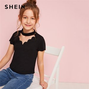 Kiddie Toddler Girls Scalloped Choker Neck Ribbed Cute Tee Kids Top 2019 Summer Short Sleeve Cut Out Casual camisetas